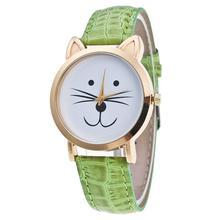 Women's Watch Cat Face Pattern Leather Band Analog Quartz Vogue Wrist Watch comfortable wearing Ladies wristwatches AT1