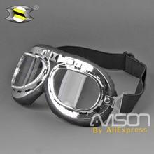 4642377859 Nueva llegada de la Segunda Guerra Mundial Vintage gafas de motocicleta  Harley estilo piloto Moto gafas Retro Jet casco gafas