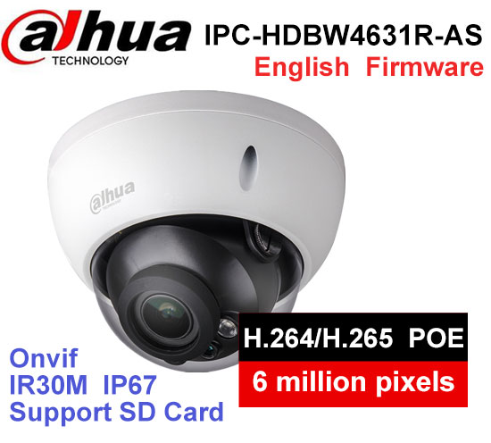Dahua IPC-HDBW4631R-AS 6MP IP Camera IK10 IP67 IR30M built-in SD card Audio and Alarm interface HDBW4631R-AS POE camera dahua ip camera 6mp poe ipc hdbw4631r s support sd slot ir30m ik10 ip67 cctv camera english firmware