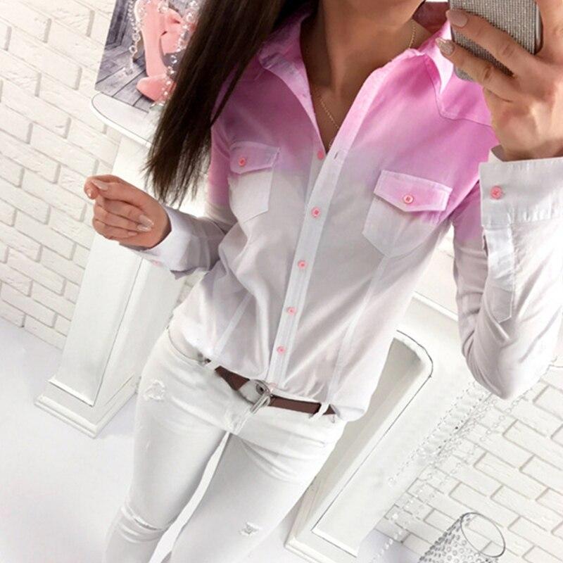 2018 New Women Cotton Blouse Summer Ladies Tops Casual V Neck Blouses Loose Shirts Gradual Change