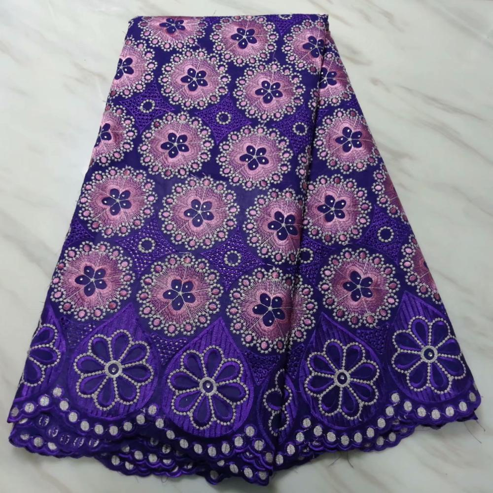 Image 2 - swiss hole lace cotton fabric flowers embroidered with stones,5  yards high quality nigerian material tissu africain brode cotonFabric