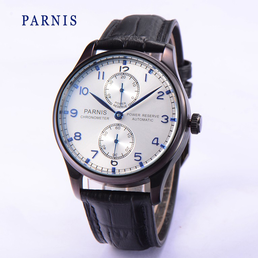 купить 43mm Parnis Power Reserve Automatic Movement PVD Case Blue No. Men's Wristwatch недорого