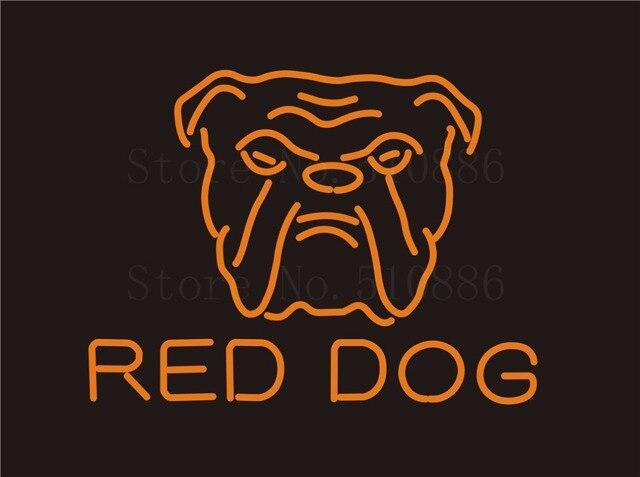 """Benutzerdefinierte Signage LEUCHTREKLAMEN Für Red Dog Sport Glasrohr BAR PUB Schild Display Schmücken Shop Shop Licht Zeichen 17*14"""""""
