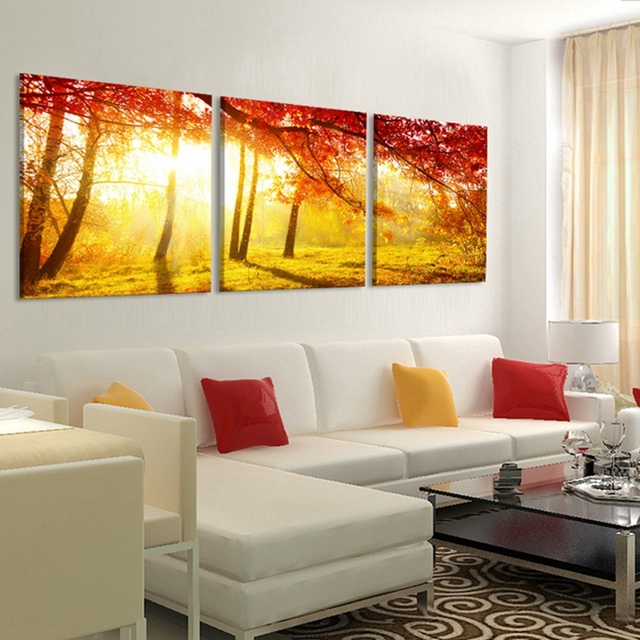 3 Pieces Unframed Painting Picture Paint on Canvas Prints Coffee ...