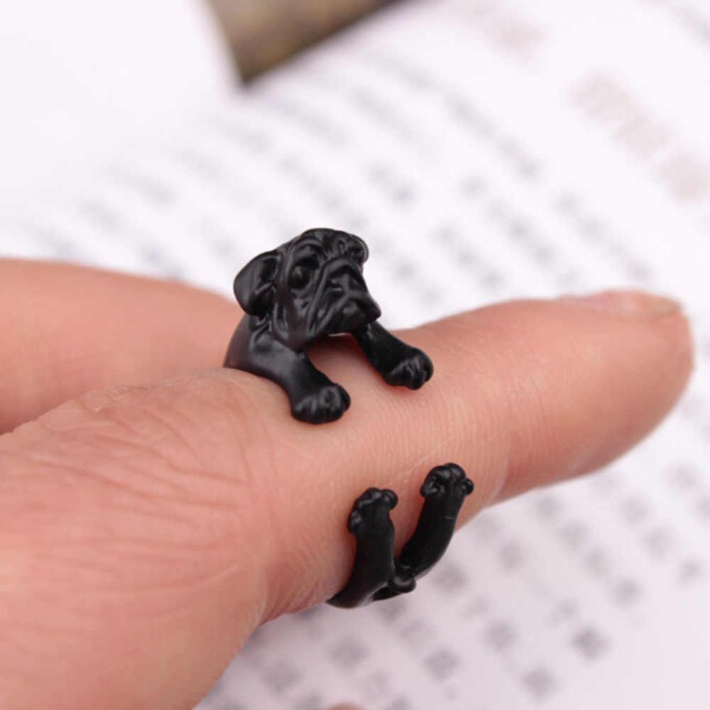 Cute Man's Animal Opening Adjustable Pug Dog Shape Ring Three Colors Optional