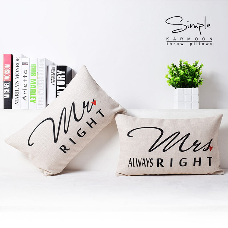 30x50cm Valentine Cushion Cover Gift Mr Right Mrs Always Right Lumbar Pillows Case Home Decor Black White Love Letters Cojines ...