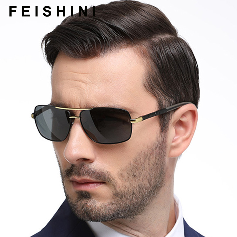 Feishini Brand Polarized Sunglasses Men Rectangle New Fashion Eyes Protect Driver Glasses With Accessories Goggles oculos de sol