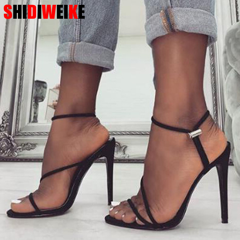 2019 new summer fluorescent color fish mouth stiletto sandals large size 35-42 black rose red fluorescent green female high heel2019 new summer fluorescent color fish mouth stiletto sandals large size 35-42 black rose red fluorescent green female high heel