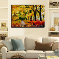 Hand Painted Impression Landscape Modern Picture on Canvas Wall Art Autumn Scenery Painting Home Decor Painting Oil Painting