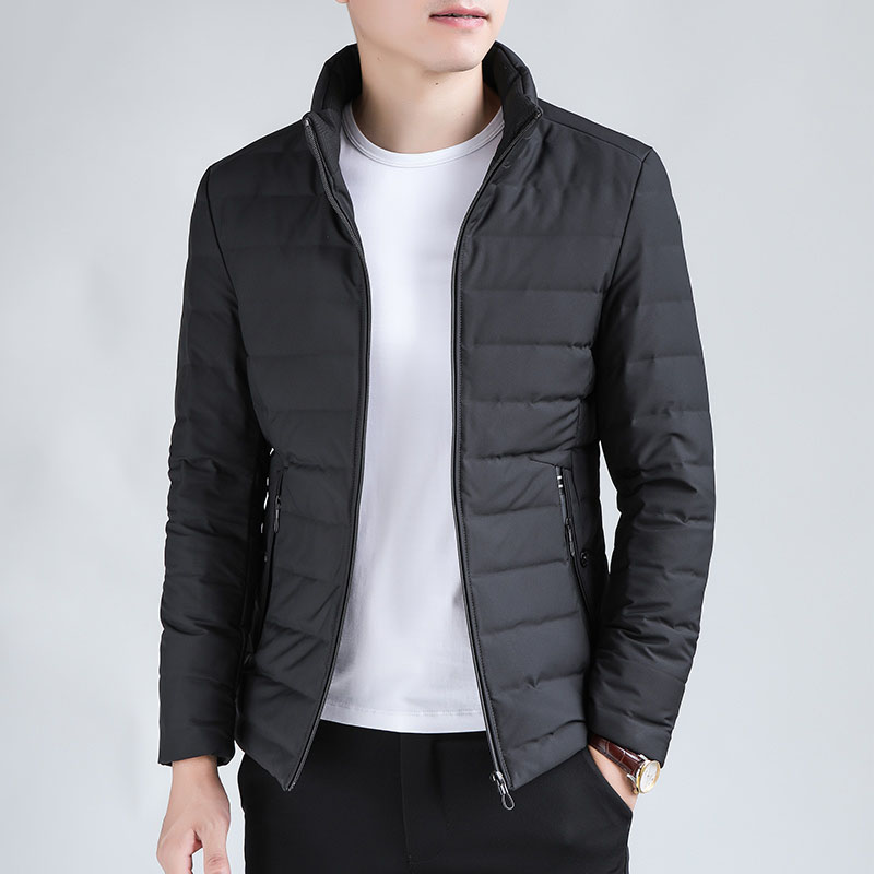 Solid black stand collar   down   jacket men pleated short   down     coat   outerwear new arrival 2019 autumn winter collection