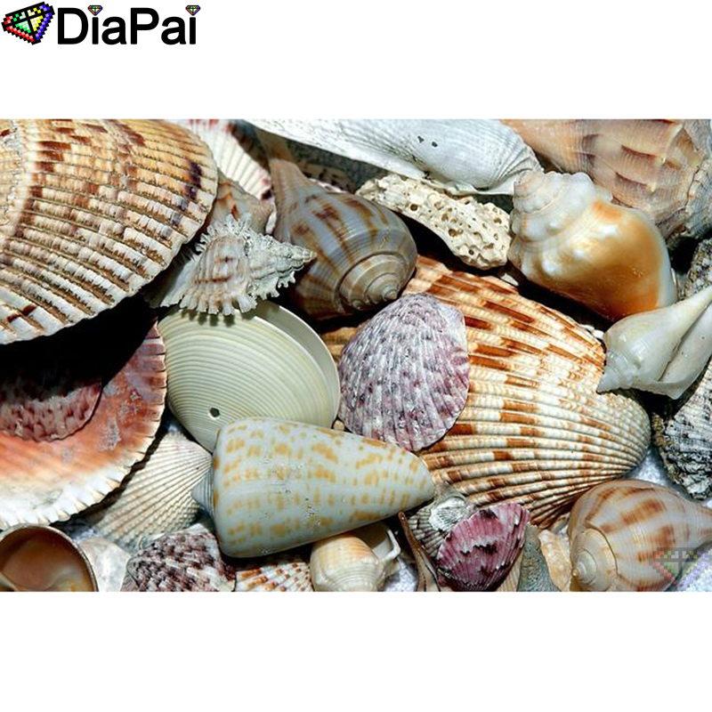 DIAPAI Diamond Painting Shell landscape Cross Stitch Custom Photo Embroidery Square Round Drill Home Decor A25359