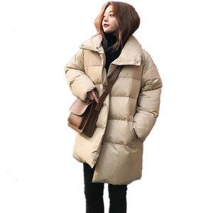 Image 2 - Veste dhiver pour femme, Parka épais, duvet rembourré en coton, vêtement dextérieur surdimensionné à manches longues, manteau femme, Q641