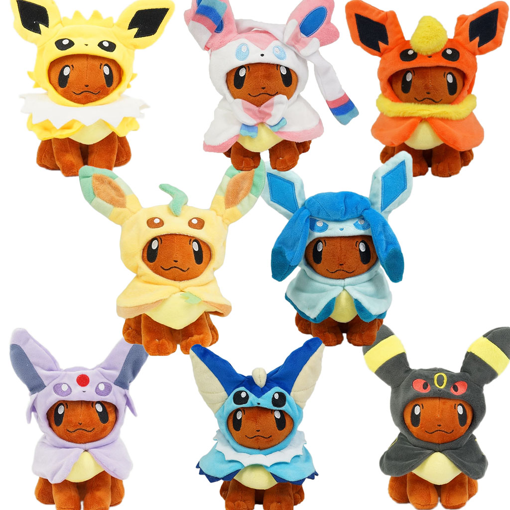 Anime 20cm Eevee Poncho Umbreon Espeon Jolteon Vaporeon Sylveon Flareon Plush Doll Stuffed Toys