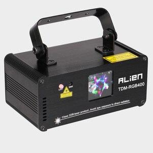 Image 2 - الغريبة عن 3D RGB 400mW DMX 512 ماسحة ضوئية بالليزر العارض المرحلة الإضاءة تأثير حزب عيد الميلاد DJ ديسكو تظهر أضواء كامل اللون ضوء