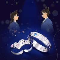 A Pair Sale Detective Conan Ring 925 Sterling Silver Jewelry Anime Kudou Shinichi with Mouri Ran Couples Ring Women Men Gift