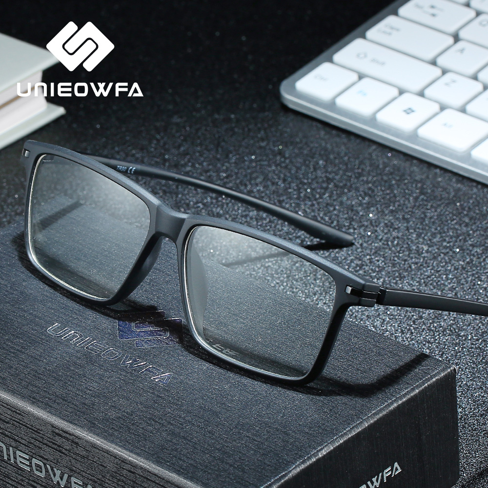 UNIEOWFA Matte Black TR90 Frame Prescription Glasses Men Optical Photocromic Eyewear Progressive Myopia Eyeglasses Anti Blue Ray(China)
