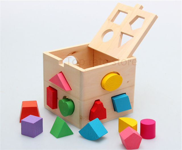 Baby Block Match Shape Learning Educational Wood Baby Toys Geometry