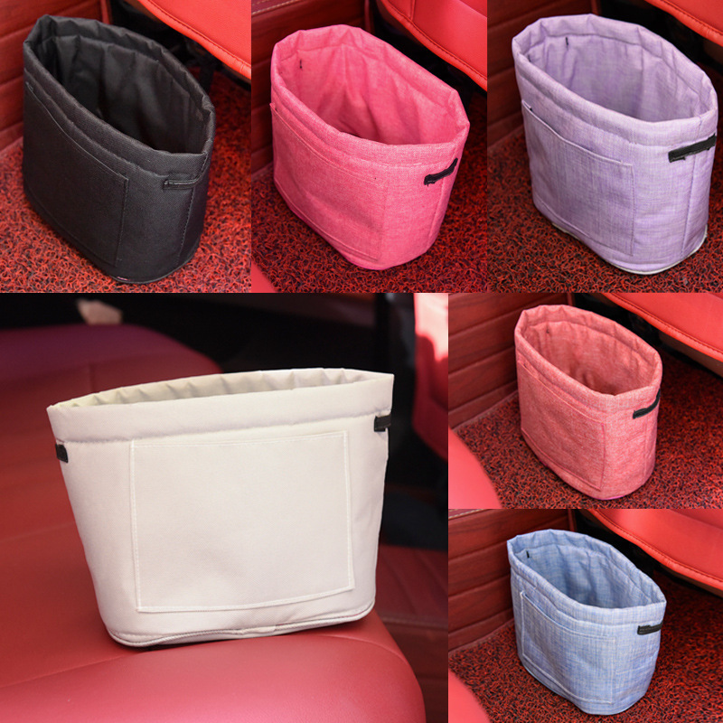 2017 High Quality Environmental Car Trash Basket Oxford Cloth Thickened Car Storage Pouch Portable Velcro Trash