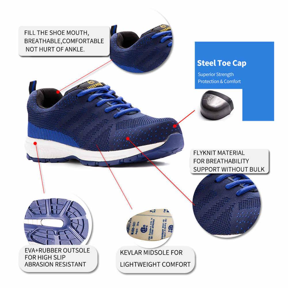 2018 модные удобные новые четыре сезона рабочие туфли, противоскользящие, защитные туфли, дышащие Светоотражающие повседневные кроссовки.