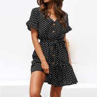 Fashion Wave Dot Print Ruffles Button Dress Women Summer V-neck Belt Slim Flare Sleeves Ladies Beach Dresses Boho Mini Sundress