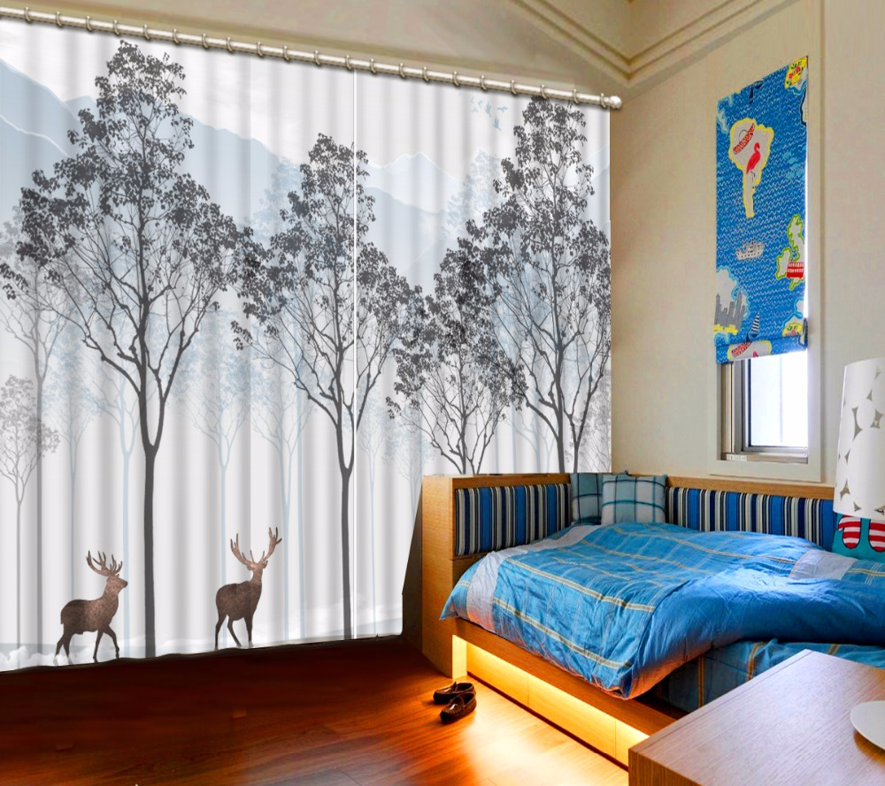 3D Curtain Beautiful Photo Deer Woods Mountain Scenery Curtain Grey Curtains Blackout Shade Window Curtains