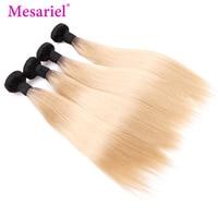Mesariel Peruvian Hair Bundles 1b/613 Straight Ombre Hair Bundles 3/4 Blonde Bundles Black Roots Remy Human Hair Extension
