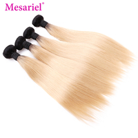 Mesariel Peruvian Hair Bundles 1b/613 Straight Ombre Hair Bundles 3/4 Blonde Bundles Black Roots Remy Human Hair Extension