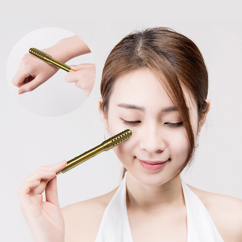 Pure Copper 0.4cm diameter moxibustion rod for eye and facial massage beauty spa with 10pcs moxa stick eye and facial massage 7mm diameter copper moxibustion rod beauty spa with 10 pcs moxa stick acupuncture map