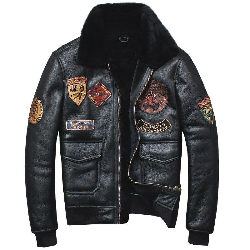HARLEY DAMSON Black Men Pilot Leather Jacket Plus Size XXXXL Slim Fit Russian Winter Aviator Genuine Thick Shearling Coat