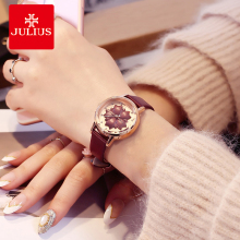 Julius Women Watch 3D Flower Dial ladies Leather Bracelets Watches Dress Female Quartz Wrist Hour Clock Reloje Mujer