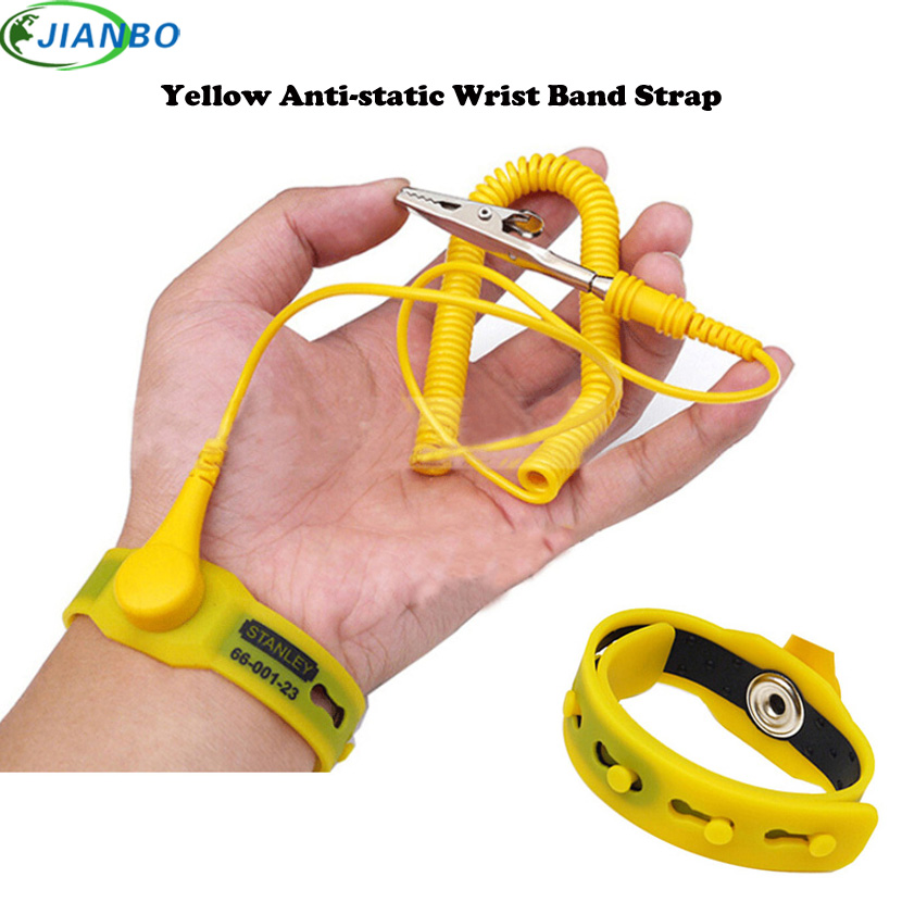 2M Yellow Color Anti Static ESD Wrist Strap Discharge Bands PVC Antistatic Bracelet Grounding Static-Release Wristband With Clip