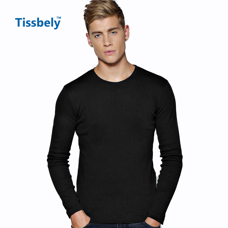 7b4f83889686 Tissbely Cotton Long Sleeve T Shirt Men Solid Plain Crew Neck Cotton Full  Sleeve Tee Shirts White and Black Causal Style