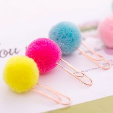 6 Pcs/Bag Colorful Plush Ball Paper Clips Bookmarkers Planner Journal Page Home School Office Supply wella page 7 page 6 page 6
