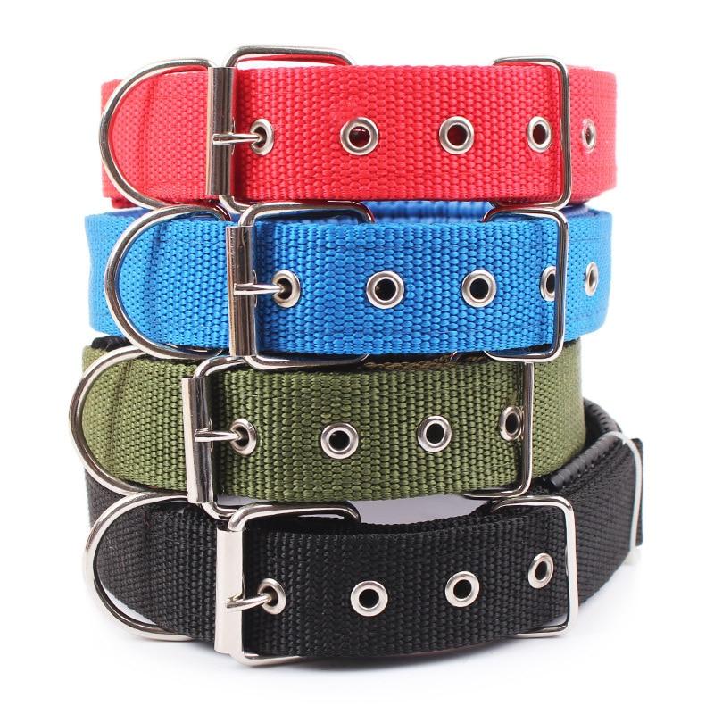 Collari per cani solidi collare per cani in Nylon per cani di taglia medio-piccola Teddy Keji Pitbull Bulldog Beagle 1