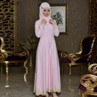 Arabic evening gowns dresses 2018 new chiffon long sleeves A Line pink mint green dark green hijab muslim evening dress long