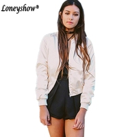 New Fashion Wild Sequined Solid Color Bomber Jacket Slim Long Sleeves Zippers Silk Satin Outwear Spring