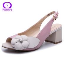 Sandalias de tacón grueso con hebilla AIMEIGAO 2019 para mujer, sandalias gladiadoras de cuero con flores de verano, zapatos cómodos con plataforma para mujer