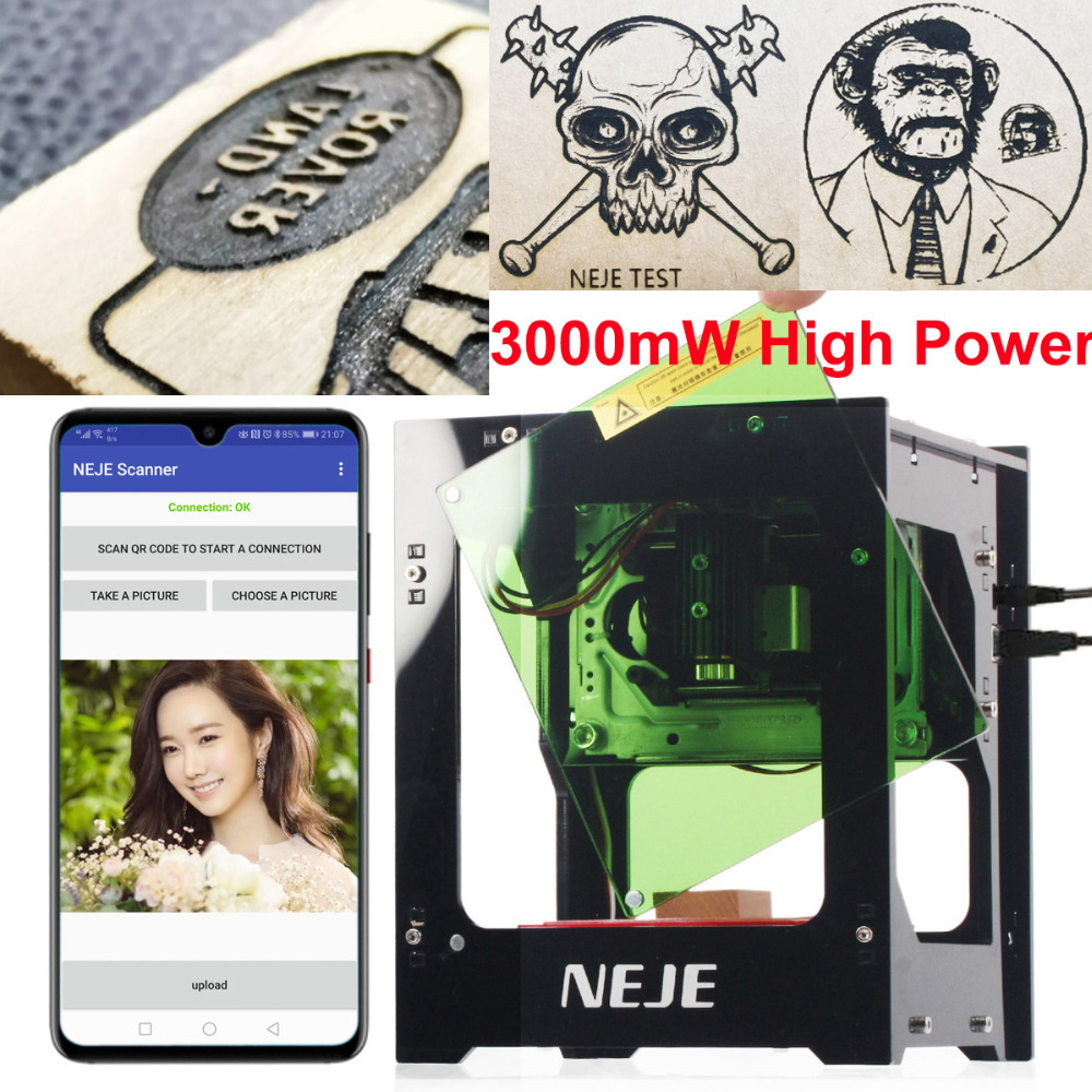 NEJE DK 8 KZ 3000mW Laser Engraving Machine AI Smart DIY USB Mini Laser Engraver CNC