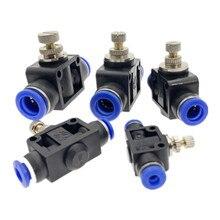 Pneumatische Luftstrom Regler 4mm 6mm 8mm 10mm 12mm OD Schlauch Rohr Gas Fluss Einstellen Ventil anschluss Fitting Air Speed Control Kran