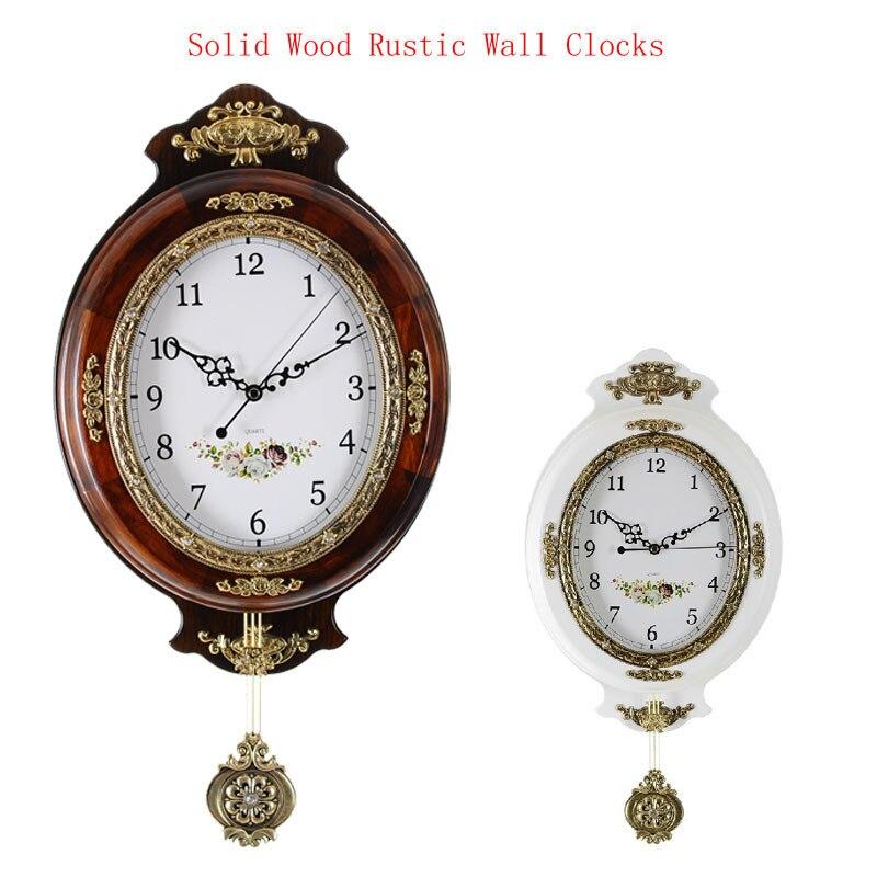 European Fashion große Wanduhr Modernes Design Holz Vintage Wanduhr Pendel Stumm Uhr Safe Quarzuhr Bewegung Hause