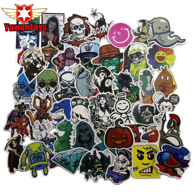 2017 50Pcs Mixed Stickers DIY Jdm Doodle Decals Home Luggage Laptop Car Styling Skateboard Decor Funny