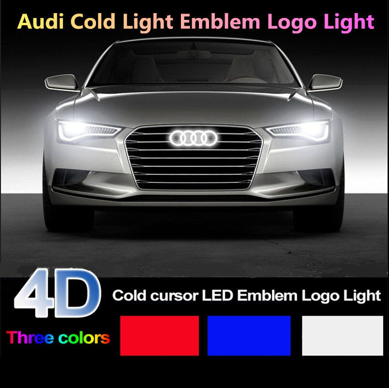 Sebter Car Styling 4D Cold light  Emblem Lighted Audi for  A1 A3 A4 A5 A6 A7 Q3 Q5  TT R8 Front grille Emblem Logo Light hot abs decorative led emblem logo light front grille for f ord r anger t7 2016 2017 car styling 4 colors grill lamp