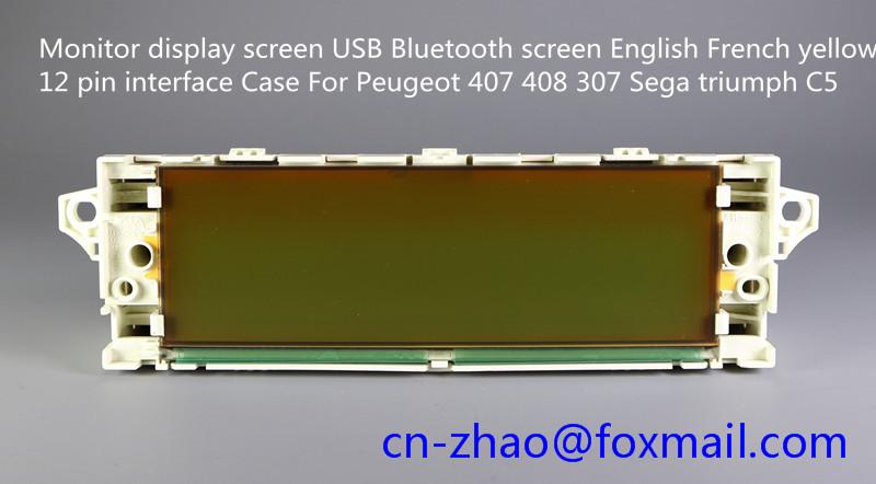 Prix pour Écran d'affichage du moniteur USB Bluetooth écran Anglais Français jaune 12 broches interface Cas Pour Peugeot 407 408 307 Sega triumph C5