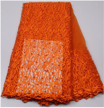 High Quality 2019 African French Net Lace Fabric Embroidered Nigerian Lace Fabric 5Yards Guipure Cord Lace With Pearl Orange