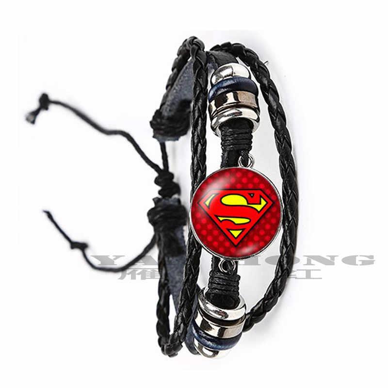 2019 YANHONG Moda Superman Batman Homem-Aranha Rodada 20mm Foto Material de Vidro Pulseira de Couro Marrom Preto