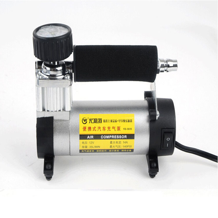 2pcs/lot 12V Portable Inflatable Pump for Car Tires Super Flow 140PSI Auto Tire Inflatable /Car Air Pump Car Air Compressor YD-3