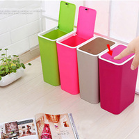 Push type plastic home dustbin sundries barrel storage tank bathroom garbage box kitchen garbage can vehicle trash can