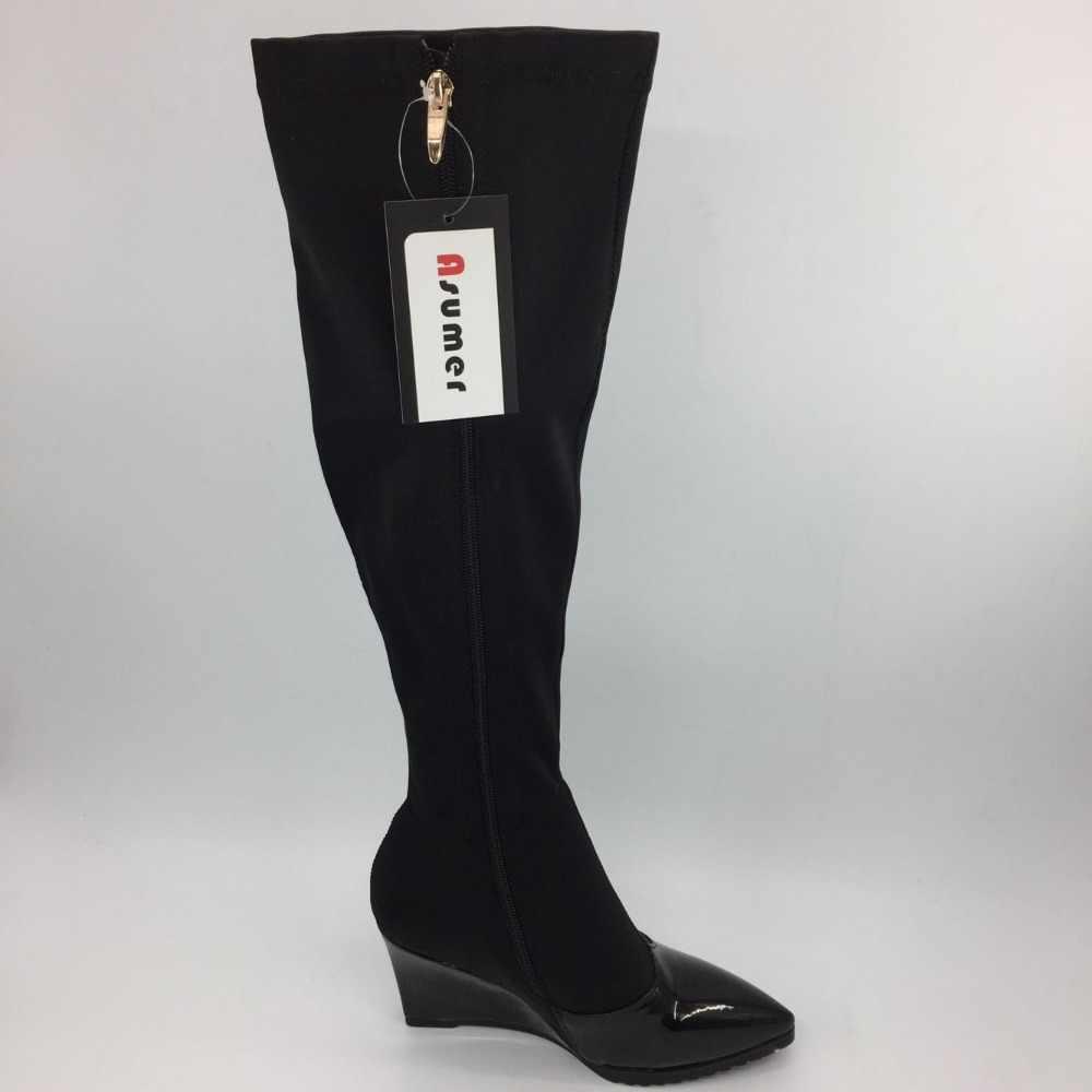 Asumer clássico moda sexy cunhas salto alto couro macio joelho botas altas sexy dedo do pé apontado outono inverno botas femininas