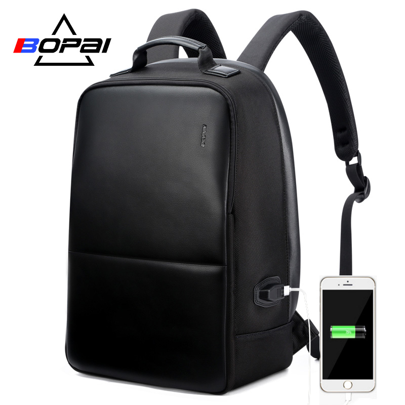 BOPAI Anti Theft Laptop Backpack USB Charge Men Leather Travel Backpack Waterproof Backpack Men School Bag