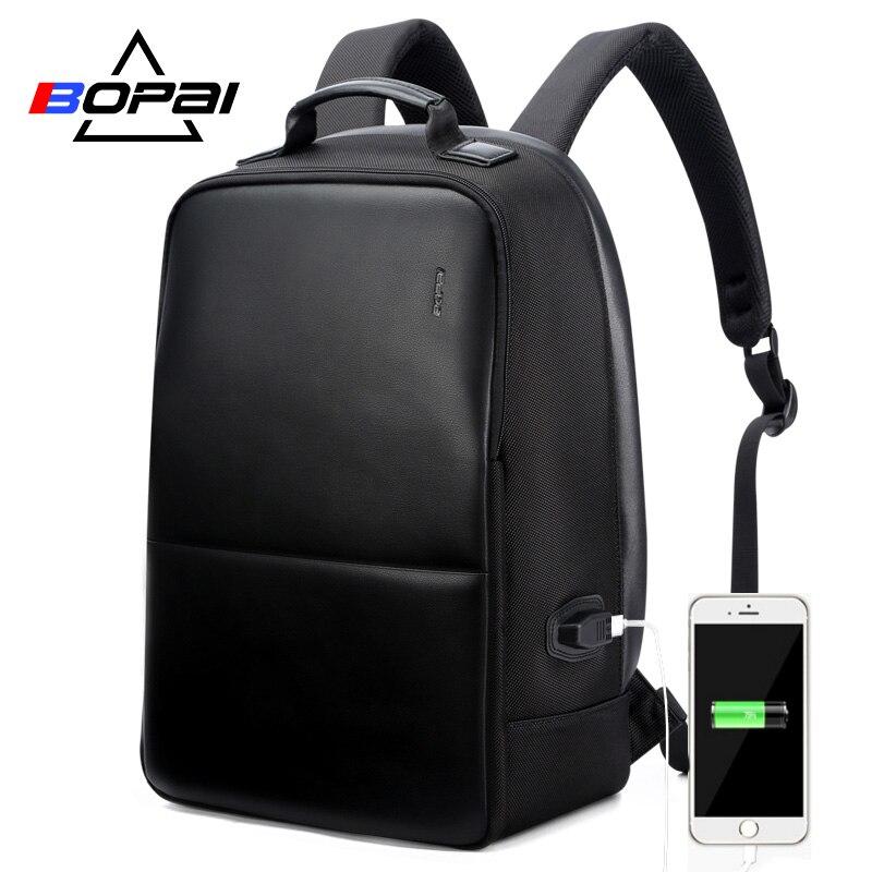 BOPAI Anti Theft Laptop Backpack USB Charge Men Leather Travel Backpack Waterproof Backpack Men School Bag